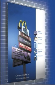 Tensioned wall banners with a floating effect